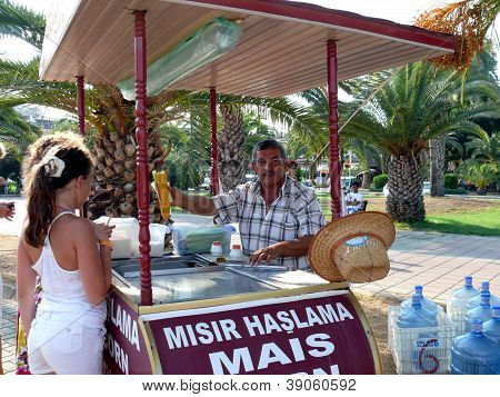 Alanya, Turkey - September 01, 2008: Men Sells Corn To Tourists On September 01, 2008 In Alanya, Tur