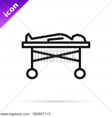 Black Line Dead Body In The Morgue Icon Isolated On White Background. Vector