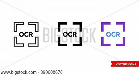General Ocr Icon Of 3 Types Color, Black And White, Outline. Isolated Vector Sign Symbol.