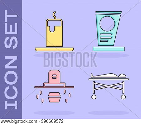 Set Dead Body In The Morgue, Burning Candle, Grave With Coffin And Grave With Tombstone Icon. Vector