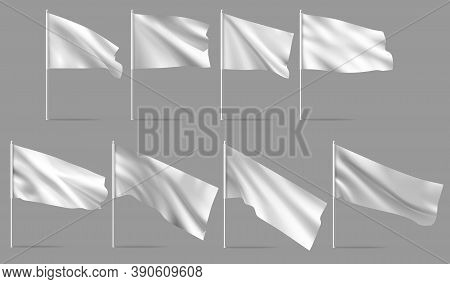 White Flag On Flagpole. Waving Blank Flags On Flagpoles. Template For Poster Design. Vector Mockups