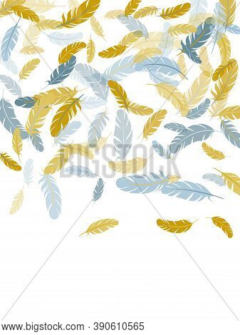 Abstract Silver Gold Feathers Vector Background. Flying Feather Elements Airy Vector Design. Lightwe