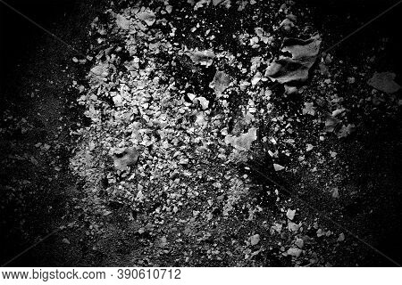 Black And White Image Of Burned Paper Ash. Abstract Black And White Background. Paper Ash Texture.