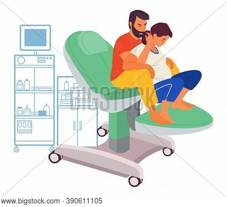 Pregnancy Preparing, Wife And Husband Make A Position Check Sitting On A Medical Chair. Exercising F