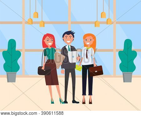 Working Colleagues Vector, Man And Woman Wearing Formal Clothes. Businessman And Business Lady With