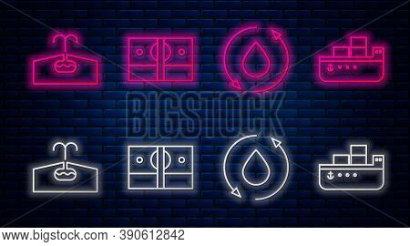 Set Line Stacks Paper Money Cash, Oil Drop, Oilfield And Oil Tanker Ship. Glowing Neon Icon On Brick