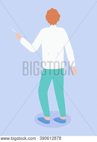 Doctor Or Physician Wearing Medical Suit Standing Back. Therapist Or Specialist Holding Medical Equi