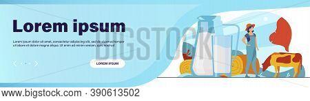 Fresh Milk In Glass Jug. Cow Pasturing On Farming Field. Vector Illustration For Farm Food, Nutritio