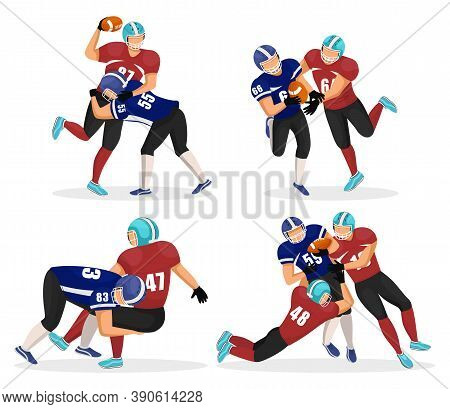Set Of Game Moments. Footballers Playing In American Football. Players Attack Their Opponents To Get