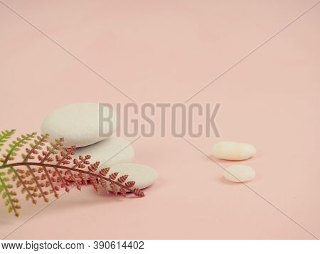 Zen Stones And Plants On A Pink Background, Space For Text. Zen Spa Stones With Flowers. Rock, Natur