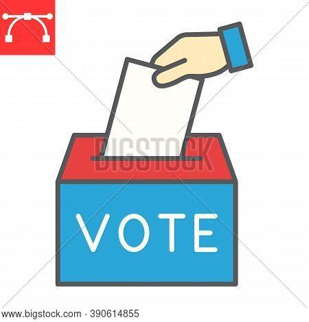 Hand Voting Ballot Box Color Line Icon, Election And Vote, Vote Box Sign Vector Graphics, Editable S