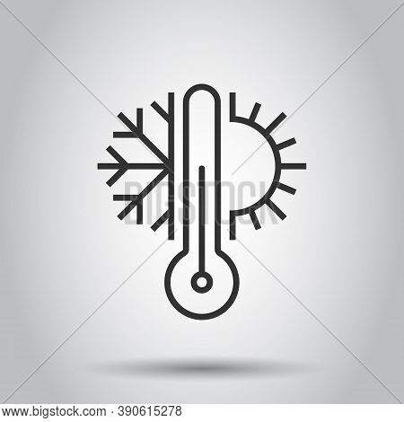 Climate Control Icon In Flat Style. Snowflake With Sun Vector Illustration On White Isolated Backgro