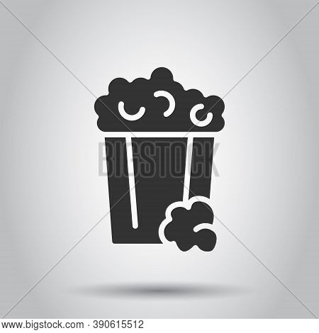 Film Icon In Flat Style. Popcorn Vector Illustration On White Isolated Background. Pop Corn Bucket B