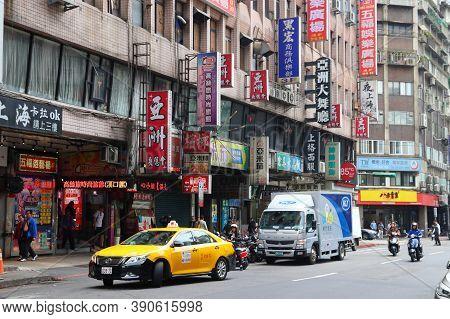 Taipei, Taiwan - December 5, 2018: City Street View In Taipei, Taiwan. Taipei Is The Capital City Of