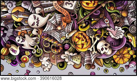 Happy Halloween Day Doodle Banner Design. Cartoon Background. Celebration Flyer Template. Color Vect