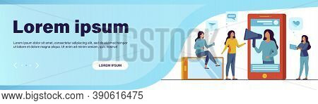 Blogger Promoting Product Or Service In Social Media Vector Illustration. Potential Product Consumer