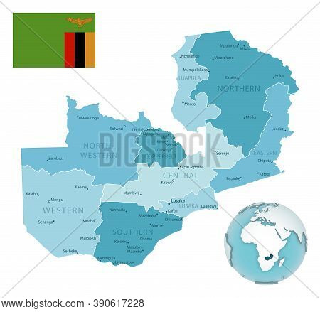 Zambia Administrative Blue-green Map With Country Flag And Location On A Globe.