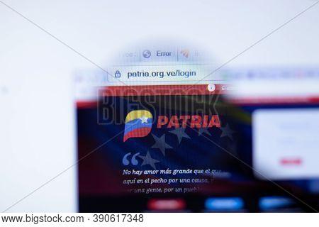 New York, Usa - 29 September 2020: Patria Patria.org.ve Company Website With Logo Close Up, Illustra