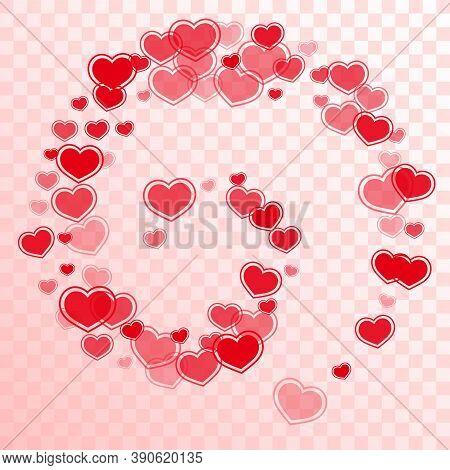 Sophisticated Scattered Hearts Flying Vector Illustration. Modern Invitation Card Backdrop. Framed H