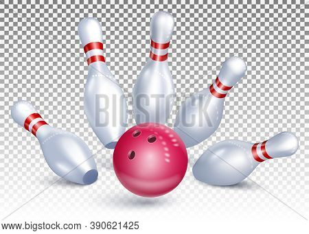The Bowling Ball Hits The Pins. Bowling Tournament. Accurate Strike. 3d Realistic Vector Illustratio