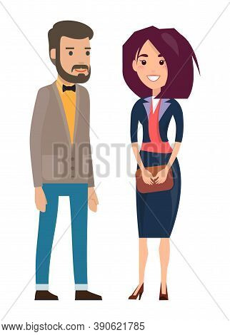 Stylish Businesspeople Wearing Office Suits, Accessories. Elegance Jacket And Dress. Office Worker D