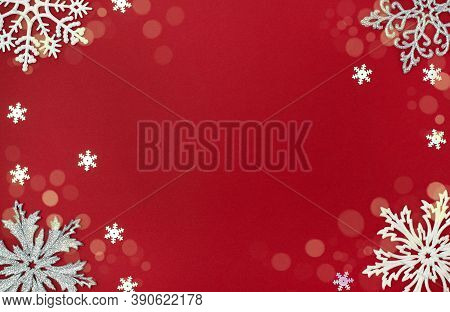 Christmas And New Year Background With Snowflakes Decorations. Trendy Christmas Greeting Card Whith