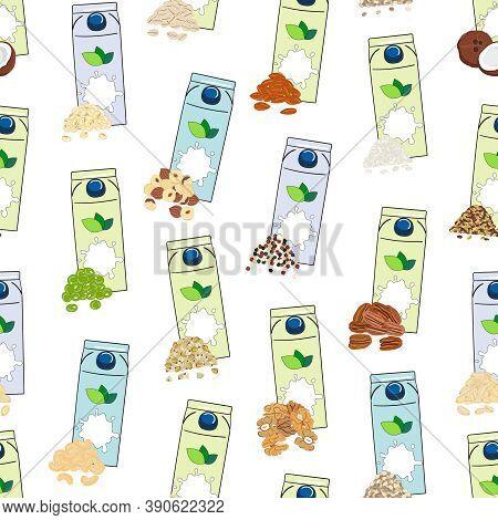 Seamless Pattern Of Carton Boxes With Plant-based Milk. Vegan Milk