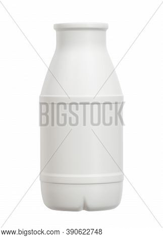 Plastic Bottle Milk Packaging (with Clipping Path) Isolated On White Background
