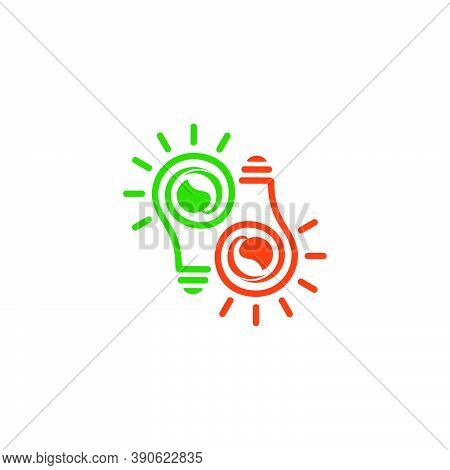 Abstract Letter Pd Idea Connection Light Bulb Symbol Logo Vector