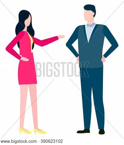 Consulting Man And Woman Discussing Business Issues. Vector Brokers And Hucksters, Stockbrokers Or B