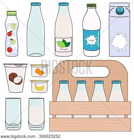 Set Of Milk, Dairy Products And Vegan Milk Alternatives.