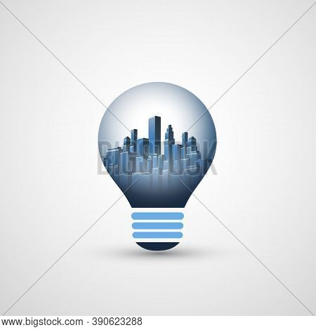 New Ideas, Smart City And Alternative Energy Concept Design - Cityscape Inside A Glowing Light Bulb