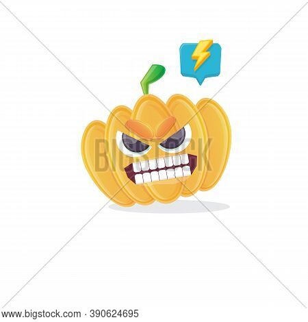 Vector Funny Cartoon Pumpkin Character Isolated On White Background. Funky Smiling Cute Autumn Veget