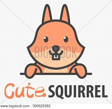 Logo Template With Cute Curious Squirrel. Wild Forest Animal Icon.