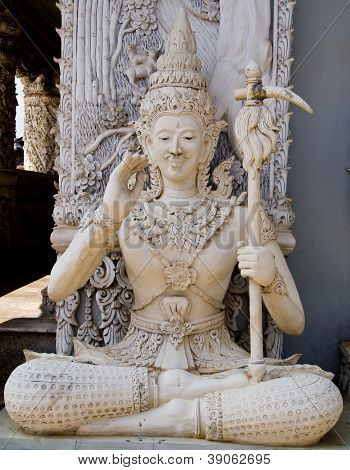 Ascetic With Scepter  Statue In Traditional Thai Style Molding Art