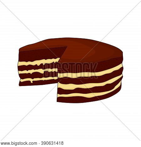 Chocolate Cake With Light Cream. Logo For The Confectioner. Hand Drawing. Vector Illustration. Confe