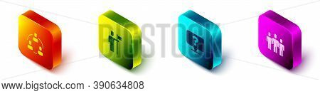 Set Isometric Project Team Base, Team Leader, Question Mark And Users Group Icon. Vector