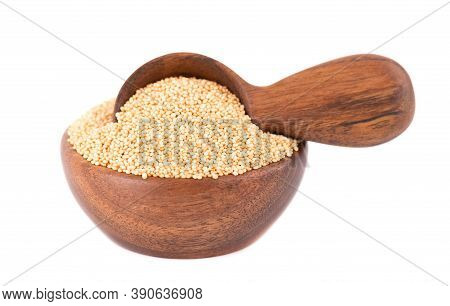 Amaranth Seeds In Wooden Bowl And Spoon, Isolated On White Background. Organic Dry Raw Amaranth Bean