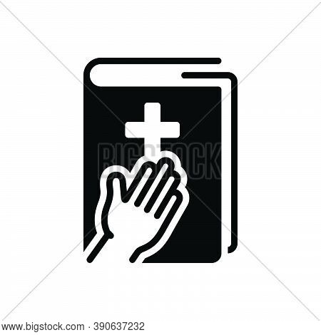 Black Solid Icon For Testimony Evidence Prove Holy-book Witness Documentation Reference