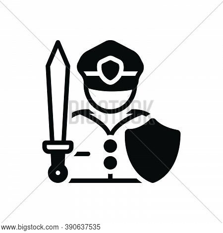 Black Solid Icon For Fighter Warrior Trooper Knight Soldier Combatant Athlete
