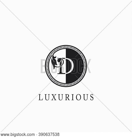 Vintage Circle D Letter  Logo Icon. Classy Ornate Leaf Shape Design On Black And White Color For Bus