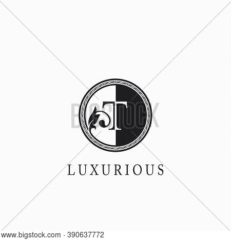 Vintage Circle  T Letter  Logo Icon. Classy Ornate Leaf Shape Design On Black And White Color For Bu