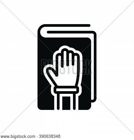 Black Solid Icon For Testify Attest Bear-witness Witness Swear Take-oath Make-an-oath