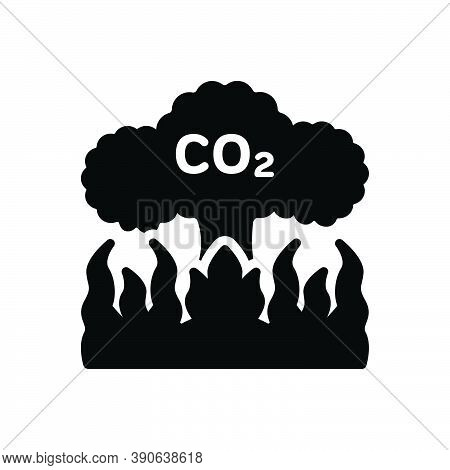 Black Solid Icon For Emission Release Co2 Pollution Atmosphere Damage Effect Gas Dioxide