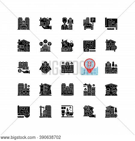 Real Estate Black Glyph Icons Set On White Space. Residential Property. House Mortgage. Home For Sal