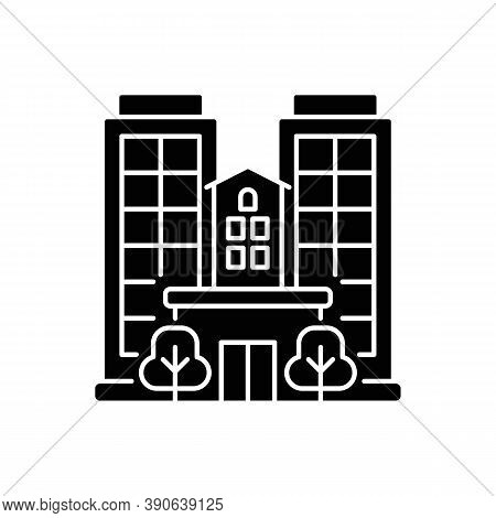Condominium Black Glyph Icon. Tall Building. High House. Skyscraper Complex. Highrise With Offices.