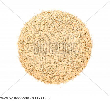 Amaranth Seeds Isolated On White Background. Organic Dry Raw Amaranth Beans. Top View.
