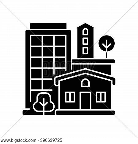 Property Type Black Glyph Icon. Office Building In Downtown. Residential House For Dwelling. Highris
