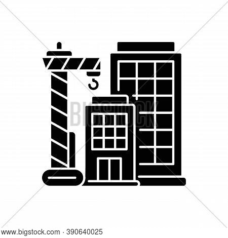 New Building Black Glyph Icon. Condominium Housing. Engineering Project For Home Construction. Tall