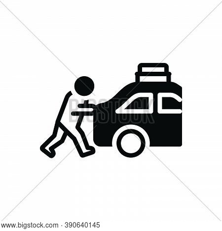 Black Solid Icon For Emphasize Push Shake Person Automobile Overheated Forcing